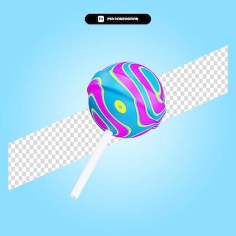 Lollipop 3d render ilustracja na białym tle
