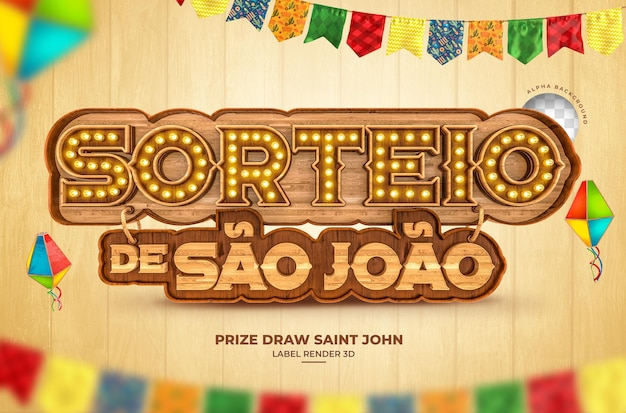 Losowanie nagród sao joao 3d render festa junina brazylia banner