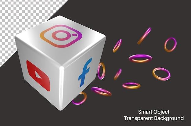 Losowe logo mediów społecznościowych na instagramie w kości 3d