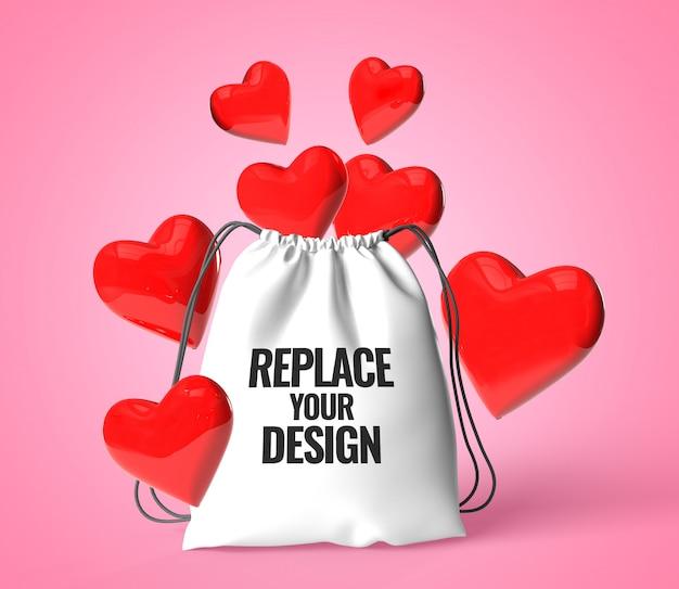 Love heart bag valentine makieta renderowania realistyczne