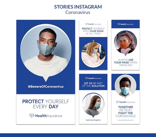 Ludzie Noszący Maski Historie Na Instagramie Premium Psd