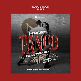 Ludzie tańczą tango szablon ulotki kwadratowych
