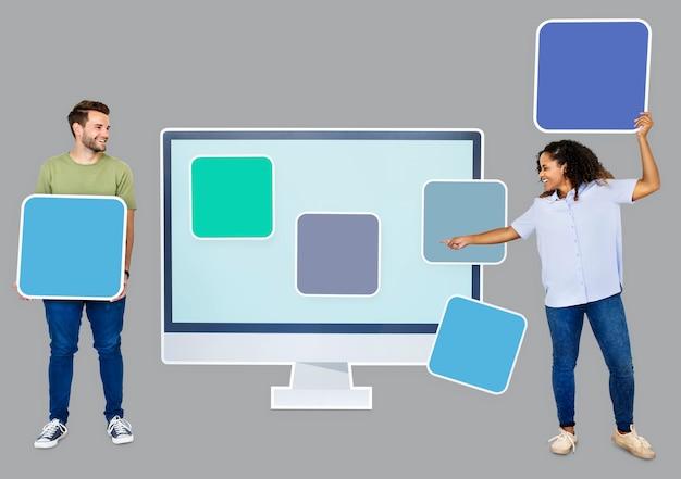 Ludzie z ikonami szablonów internetowych