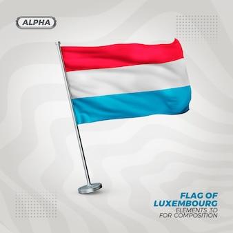 Luksemburg realistyczna flaga z teksturą 3d do składu