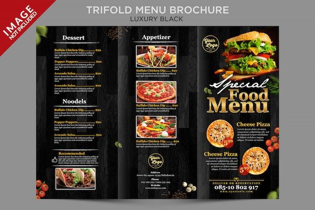 Luksusowa broszura potrójnego menu poza serią