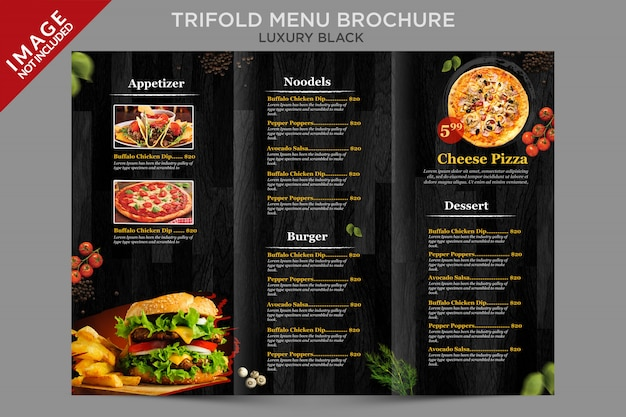 Luksusowa broszura potrójnego menu w serii