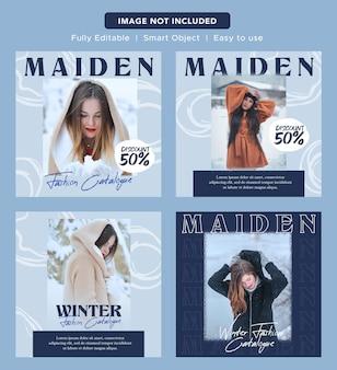 Luksusowa elegancka moda z rabatem w mediach społecznościowych promo banner design szablon posta na instagram