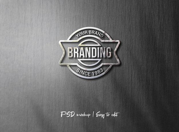 Luksusowa makieta logo 3d na szarej ścianie