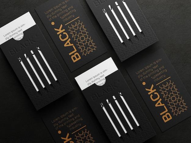 Luksusowa pionowa makieta wizytówki z efektem typografii