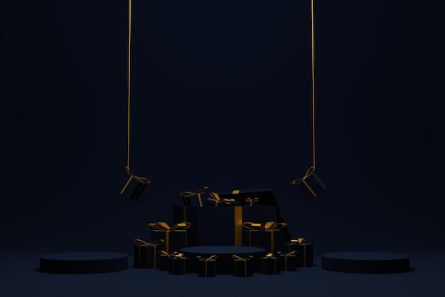 Luksusowa scena podium renderowania 3d na boże narodzenie w tle