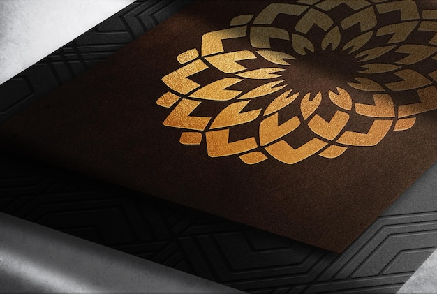 Luksusowa skóra z wytłoczonym złotym logo makieta karty stosu prespektywy