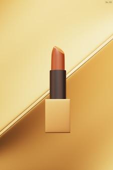 Luksusowa szminka na złotym tle.