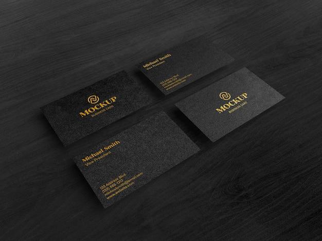Luksusowa złota czarna wizytówka makieta pochylony widok z góry