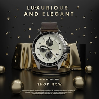 Luksusowe i świecące podium z czarnego złota z kwadratem konfetti