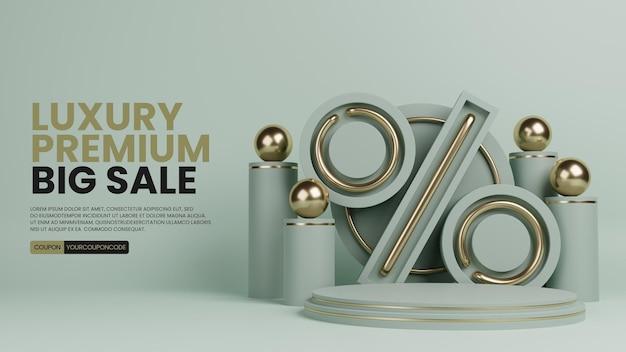 Luksusowe minimalis premium z ikoną procent