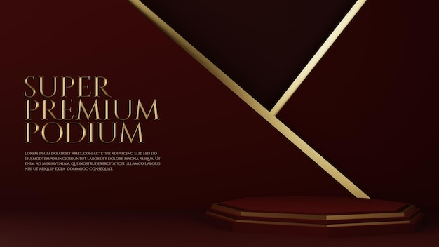 Luksusowe podium premium ze złotym elementem geometrycznym