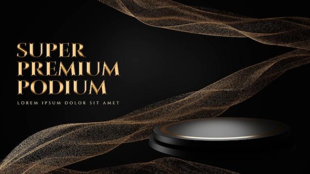 Luksusowe podium z drobinkami złota