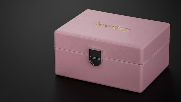 Luksusowe różowe pudełko na biżuterię logo makieta renderowania 3d