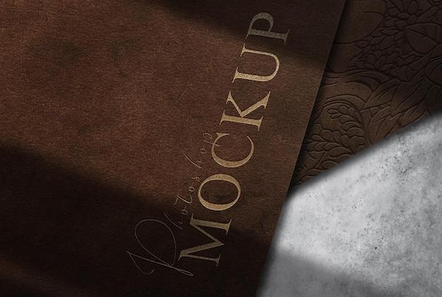 Luksusowe skórzane tłoczone papiery makieta widoku perspektywicznego