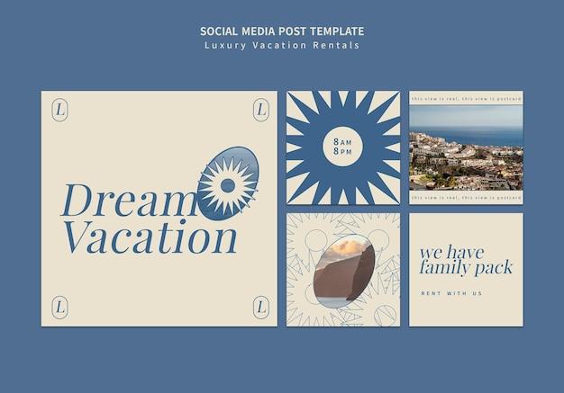 Luksusowe wakacje na wynajem insta szablon projektu postu w mediach społecznościowych