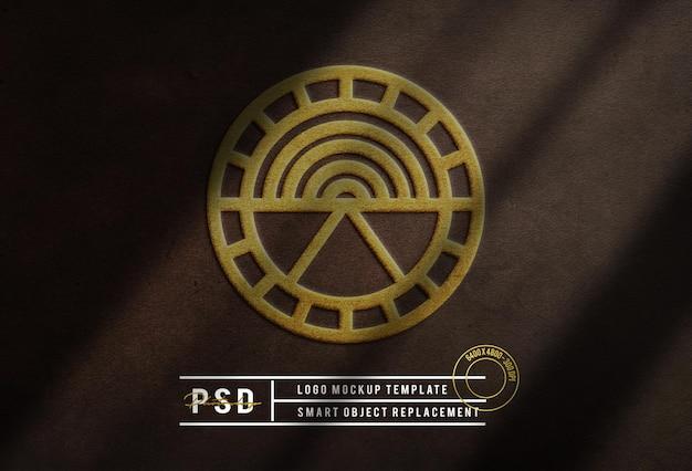 Luksusowe złote logo makieta skórzana tło