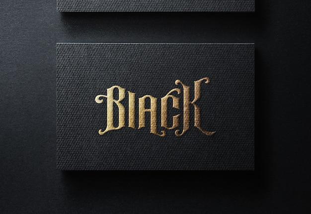 Luksusowy makieta logo na czarnej wizytówce