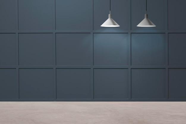 Luksusowy pokój ścienny makieta psd z lampami sufitowymi