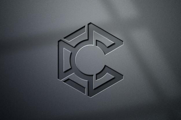 Luksusowy projekt makiety logo 3d z cieniem