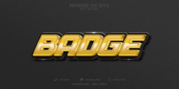 Luksusowy projekt szablonu efektu odznaki 3d w stylu tekstu