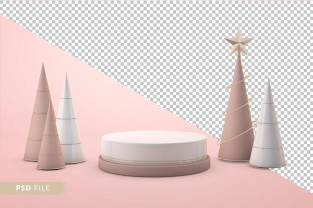 Luksusowy render 3d na podium świątecznym