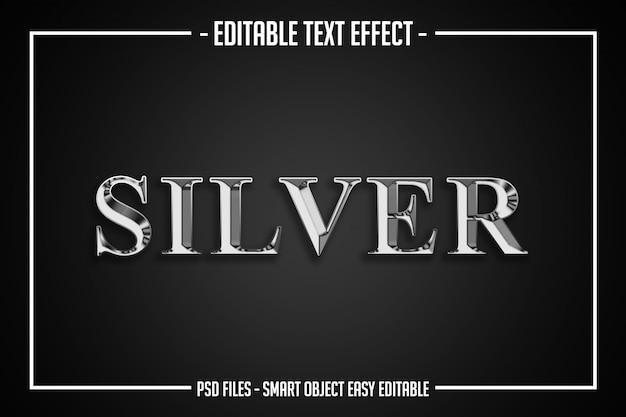 Luksusowy srebrny styl tekstu edytowalny efekt czcionki