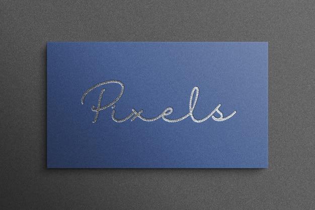 Luksusowy styl 3d makieta logo z niebieskim papierze