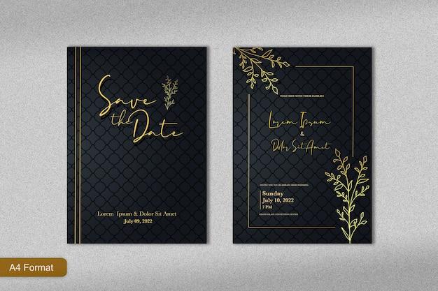 Luksusowy szablon zaproszenia ślubnego ze złotym kwiatem linii i czarnym tłem