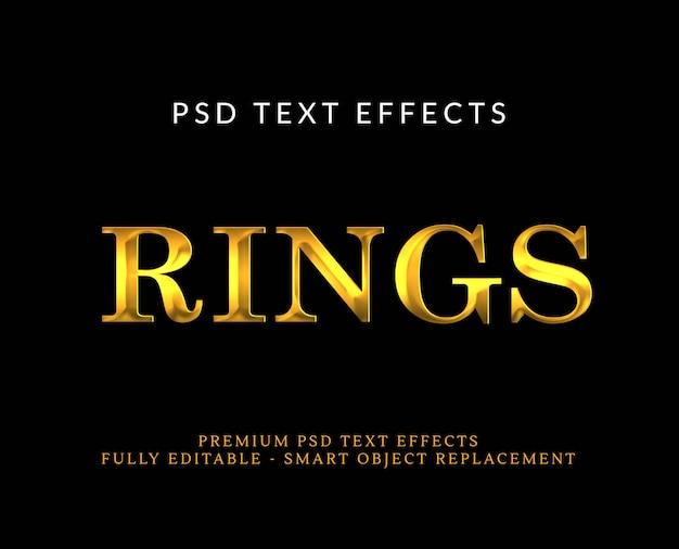 Luksusowy złoty efekt stylu tekstu 3d psd