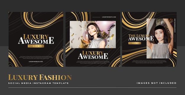 Luksusowy złoty modowy szablon postu w mediach społecznościowych