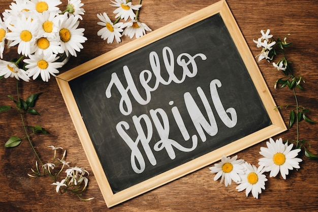 Łupek szablon na wiosnę z kwiatami
