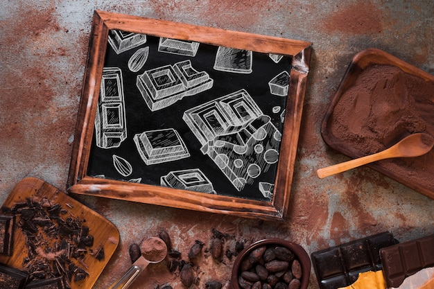 Łupkowy makieta z czekoladowym pojęciem