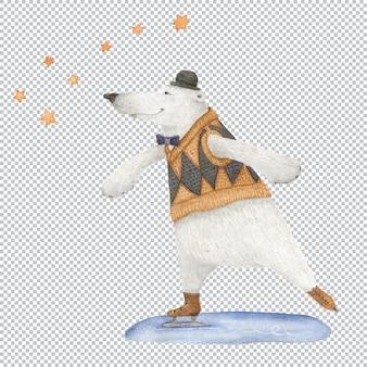 Łyżwy niedźwiedzia polarnego pod konstelacją ursa minor
