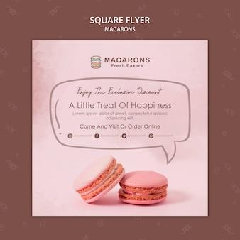 Macarons koncepcja szablon kwadratowych ulotki