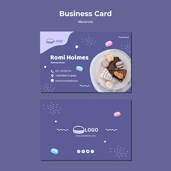 Macarons koncepcja wizytówki szablon