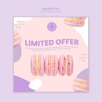 Macarons ograniczona oferta kwadratowy post