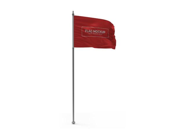 Macha flagą 3d makieta na białym tle projekt