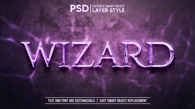 Magical wizard metaliczny styl edytowalnej warstwy efekt tekstowy obiektu inteligentnego