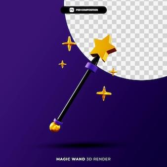 Magiczna różdżka ilustracja renderowania 3d na białym tle