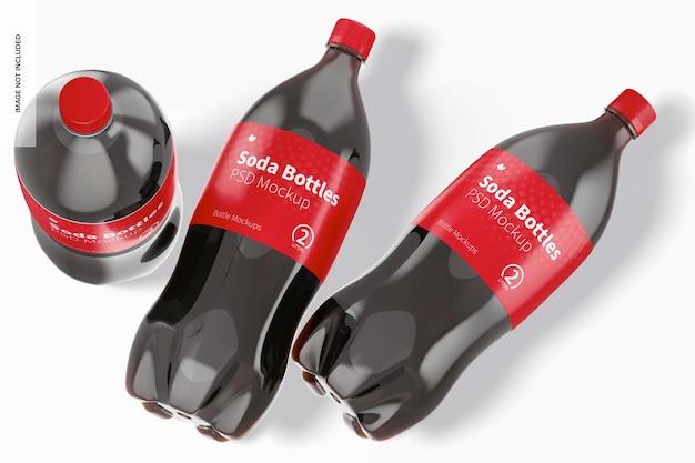 Makieta 2-litrowych butelek sodowych, widok z góry