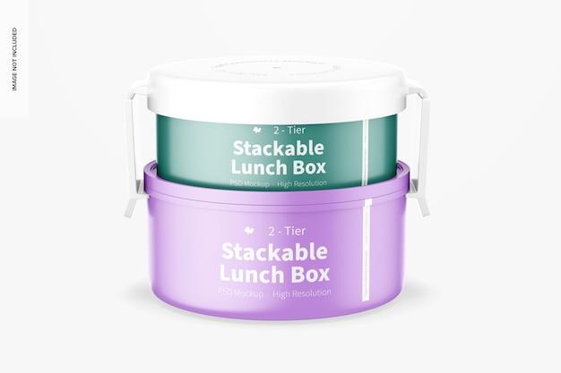 Makieta 2-poziomowego pudełka śniadaniowego do układania w stos, widok z przodu