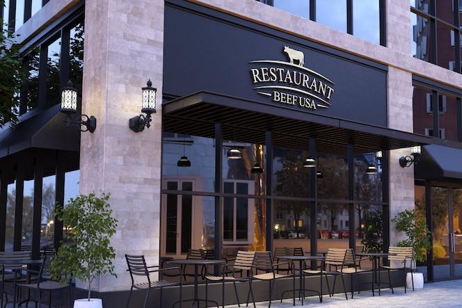 Makieta 3d chromowanego logo na elewacji nowoczesnej restauracji
