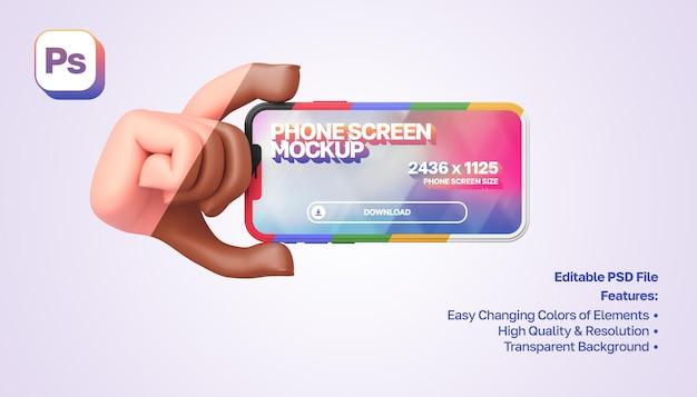 Makieta 3d kreskówka ręka pokazująca i trzymająca smartfon po lewej stronie w orientacji poziomej