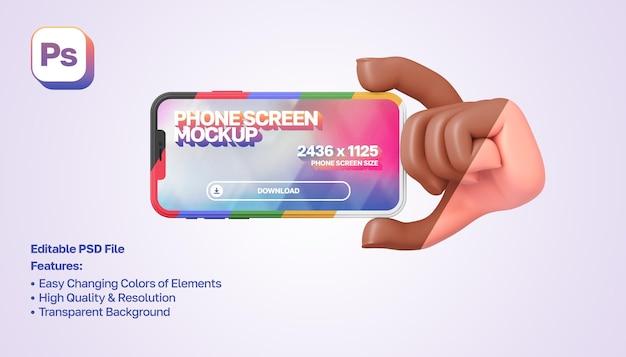 Makieta 3d kreskówka ręka pokazująca i trzymająca smartfon po prawej stronie w orientacji poziomej