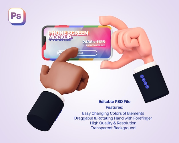 Makieta 3d kreskówka ręka trzyma i pokazuje telefon w orientacji poziomej, druga ręka naciska na niego